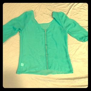 Teal see through blouse with front zipper